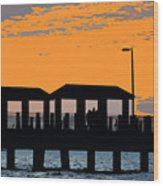 Sunset At The Fishing Pier Wood Print