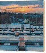 Sunset At The Marina In Winter Wood Print