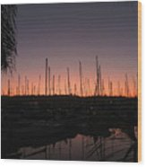 Sunset At The Marina Wood Print