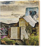sunset at the marques de riscal Hotel - frank gehry - vintage version Wood Print