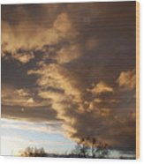 Sunset At The New Mexico State Capital Wood Print