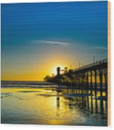 Sunset At The Pier Wood Print