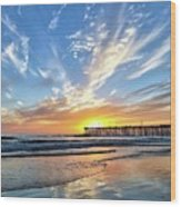 Sunset At The Pismo Beach Pier Wood Print