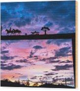 Sunset At The Ranch Wood Print