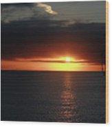Sunset At The Santa Cruz Wharf Wood Print