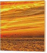 Sunset At The Ss Atlantus - Pano Wood Print