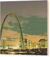 Sunset At The St. Louis Arch  Wood Print