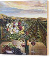 Sunset At The Vineyards Wood Print