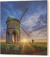 Sunset At The Windmill Wood Print