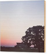 Sunset At The Winery Wood Print