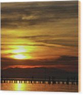 Sunset At Thessaloniki Wood Print