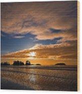 Sunset At Tofino Wood Print