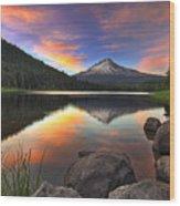 Sunset At Trillium Lake With Mount Hood Wood Print