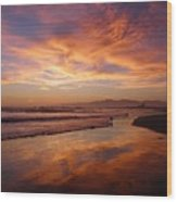 Sunset At Venice Beach Wood Print