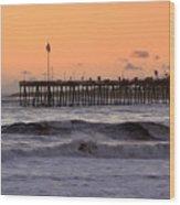 Sunset At Ventura Pier Wood Print