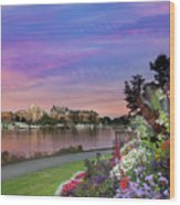 Sunset At Victoria Bc  Inner Harbour Wood Print