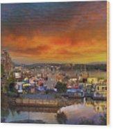 Sunset At Victoria Inner Harbor Fisherman's Wharf Wood Print