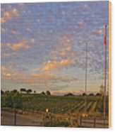 Sunset At Vineyard Wood Print