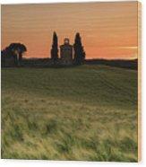 Sunset At Vitaleta Wood Print