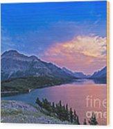 Sunset At Waterton Lakes National Park Wood Print