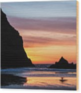 Sunset At Whalehead Beach Wood Print