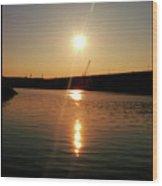 Sunset At Wolf Creek Dam Wood Print