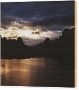 Sunset At Yangshuo In China Wood Print
