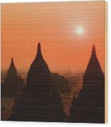 Sunset Bagan Wood Print