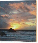Sunset Bandon By The Sea Wood Print