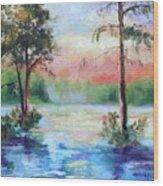 Sunset Bayou Wood Print