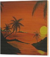 Sunset Beach Wood Print