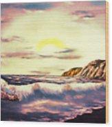 Sunset Beach Pastel Splash - Elegance With Oil Wood Print