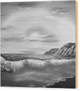 Sunset Beach Pastel Splash In Black And White Wood Print