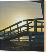 Sunset Behind A Lifeguard Station On Venice Beach Ca Wood Print