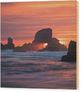 Sunset Behind Arch At Oregon Coast Usa Wood Print
