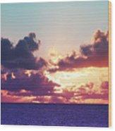 Sunset Behind Clouds Wood Print