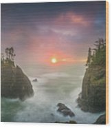 Sunset Between Sea Stacks With Trees Of Oregon Coast Wood Print
