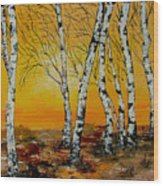 Sunset Birches Wood Print