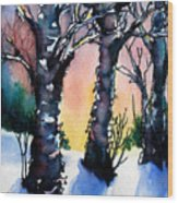 Sunset Birches On The Rise Wood Print
