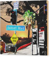 Sunset Blvd Meets Sunset Wood Print