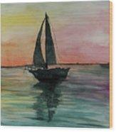 Sunset Boat 1 Wood Print