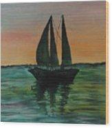Sunset Boat 2 Wood Print