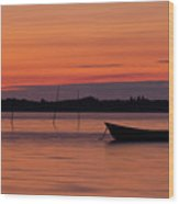 Sunset Boat Wood Print