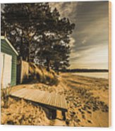 Sunset Boat Shed Wood Print