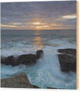 Sunset Breach Wood Print