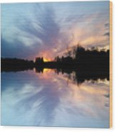 Sunset Brushstrokes Wood Print