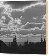 Sunset Bw Wood Print