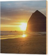 Sunset By Haystack Rock At Cannon Beach Wood Print