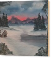 Sunset By The Lake Wood Print