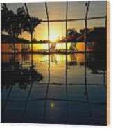 Sunset By The Pool Wood Print